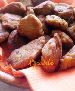 Plantain Mosa or Plantain fritters using Unripe plantain flour to replace wheat in the recipe