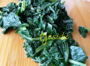 Ebolo leafy vegetable steamed whole and chopped