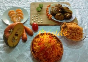 Carrot, Pumpkin Tomato Salad with Jollof rice and chicken with Tangerine